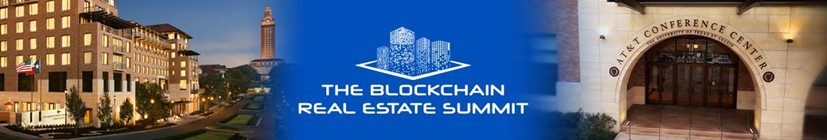 The logo of the Blockchain Real Estate Summit which will be held at the AT&T Hotel Conference Center on the University of Texas on September 10, 2021 Picture of Barrels of whiskey in a distillery to show the physical assets tokenized as a whiskey fund.