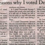 Hilarious: Twelve Reasons Why I Voted Democrat…