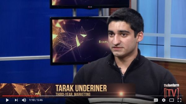 In this screen capture from YouTube, Tarak Underiner discussed his support for concealed carry on campus with The Scarlet Scoop on the student-run Lantern TV.