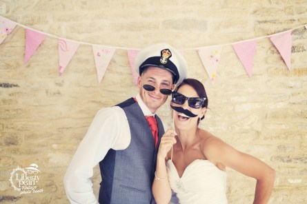Wedding vintage photo booth at Kingscote Baqrn Bristol