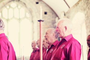 Jodie and Will wedding Polhawn Fort - Cornwall wedding photographer choir