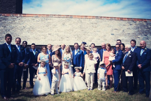 Jodie and Will wedding Polhawn Fort - Cornwall wedding photographer group photo