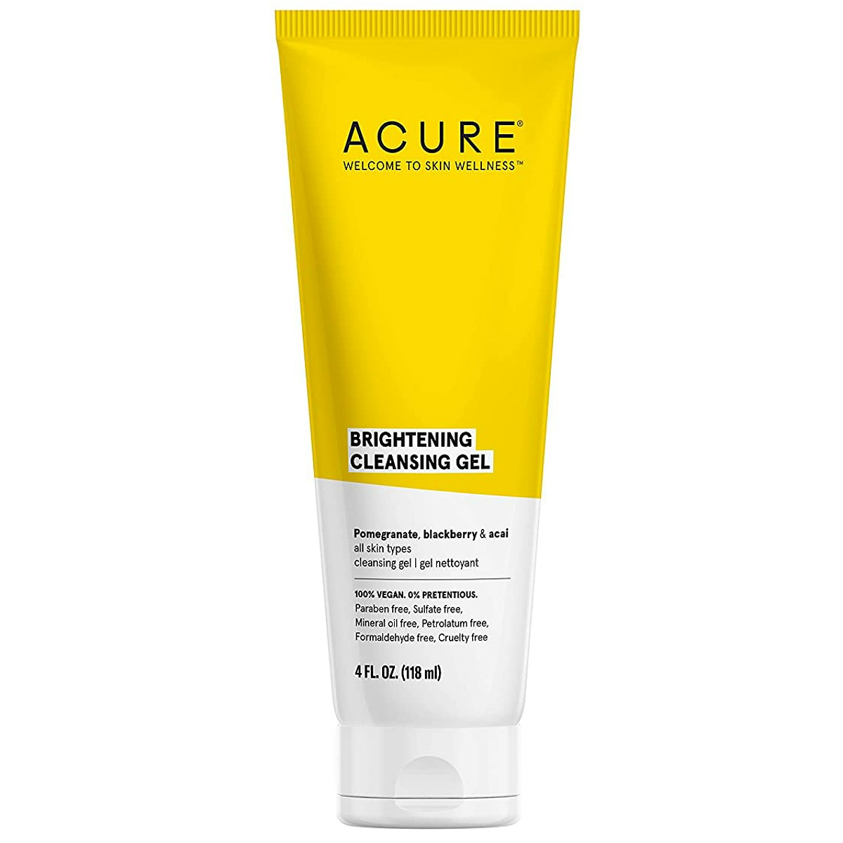 ACURE Brightening Cleansing Gel 100% Vegan For A Brighter Appearance Pomegranate Blackberry & Acai