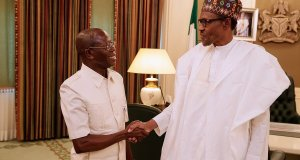 Kogi Guber: Buhari Meets Oshiohmole, Gov. Yahaya Bello At Aso Rock
