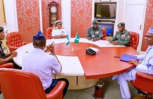 Insecurity: NSA Absent As Service Chiefs Meet Buhari, Kyari