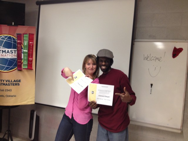 Tracey & Clem: Contestants for the Club International Speech Competition-- 2014-#2