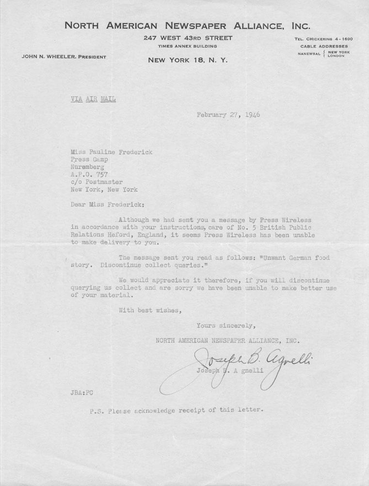 Letter from Joseph Agnelli to Pauline Frederick, February