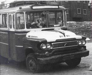 The famous bus in which Palestinians were traveling through Ein Remmaneh neighborhood