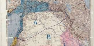 La carte des Accords Sykes Picot. Archives du Quai d'Orsay