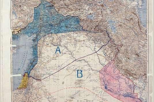 La carte des Accords Sykes Picot. Archives du Quai d'Orsay