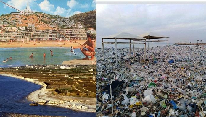 Photomontage: En Bas à gauche, Nahr Kalb dans les années 50 avant la construction de la centrale électrique de Zouk. En haut à gauche, publicité pour le Holiday Beach au début des années 70. La source de ces 2 photos est le site OldBeirut. A droite, la plage située entre le Holiday Beach et le Rimal aujourd'hui. Crédit Photo: LBCI.