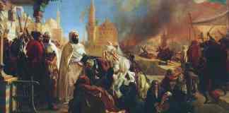 Tableau de Jean-Baptiste Huysmans représentant le chef algérien l'émir Abd-el-Kader, protégeant les chrétiens à Damas en 1860, lors des massacres commis par les Druzes. Gros et Delettrez, catalogue de vente publique Orientalisme et Art islamique,/Wikimedia