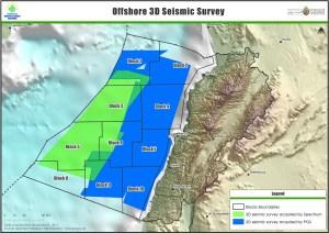 La carte des différents blocs dans les zones maritimes libanaises. Source Lebanese Petroleum Authorities