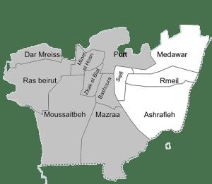 Les 2 circonscriptions électorales Beyrouth I et II.