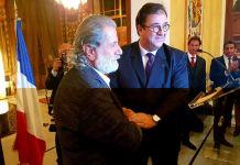L'Ambassadeur de France Bruno Foucher en compagnie du Musicien Marcel Khalifé. Source Photo: Page Facebook de l'Ambassade de France au Liban