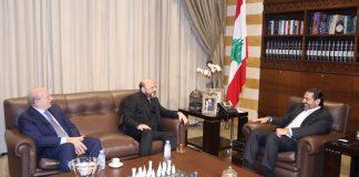 La rencontre entre le Premier Ministre Désigné Saad Hariri et le représentant des Forces Libanaises Melhem Riachi. Crédit Photo: Dalati & Nohra