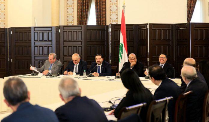 Le Premier Ministre Saad Hariri présidant une réunion consacrée à CEDRE au Grand Sérail. Source Photo: Dalati & Nohra