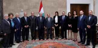 Le Président de la République avec une délégation de la Ligue Maronite, le Lundi 4 mars 2019. Crédit Photo: Dalati & Nohra
