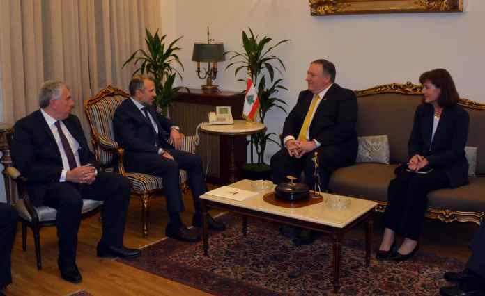 Le Secrétaire d'Etat Américain Mike Pompeo, avec le Ministre des AF Libanais Gébran Bassil au Palais Bustros. Crédit Photo: Dalati & Nohra