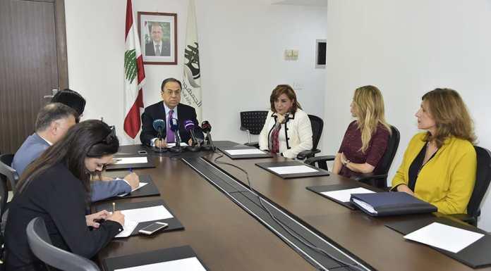 La conférence de presse du Ministre de l'économie Mansour Bteish. Crédit Photo: Dalati & Nohra