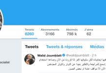 Walid Joumblatt sur Twitter