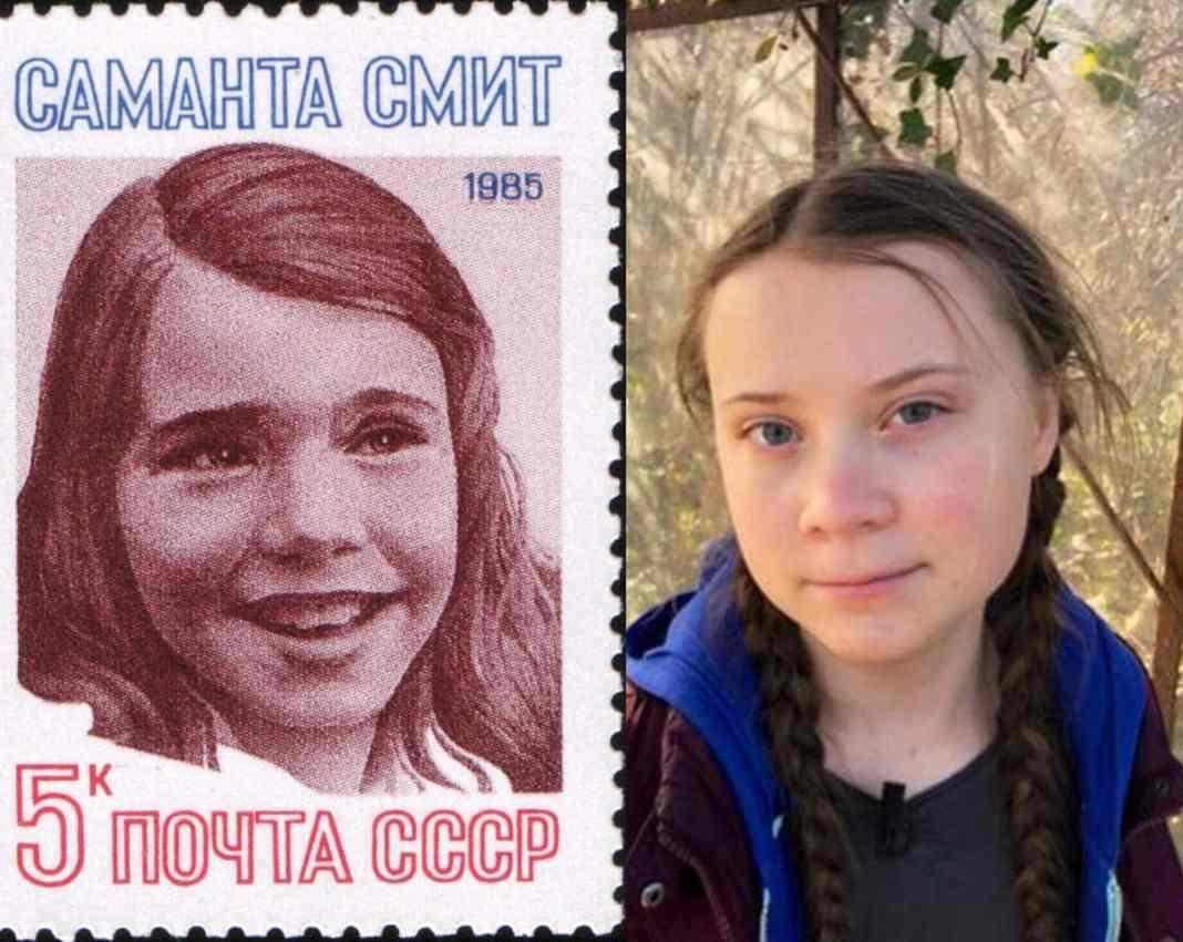Samantha Smith sur la gauche et Greta Thunberg sur la droite.