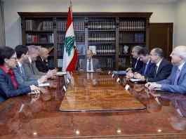 Le directeur régional de la Banque Mondiale Saroj Kumar et sa délégation avec le Président de la République, le Général Michel Aoun. Crédit Photo: Dalati & Nohra