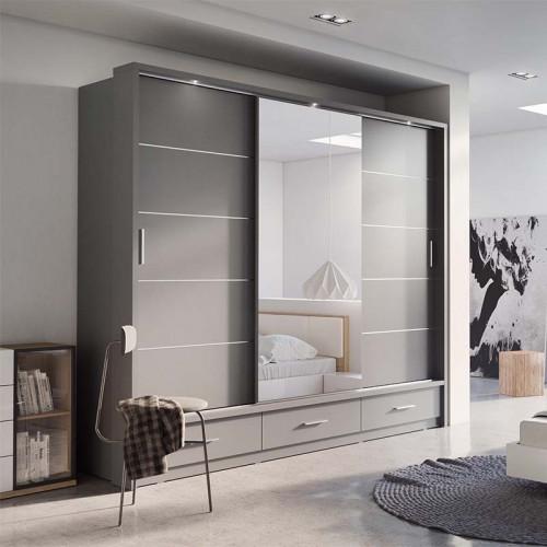 armoire coulissante 3 portes avec miroir arti 01 gris