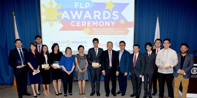 Mrs. Leni Panganiban, Ayala Land Gen. Counsel Atty. June Vee Navarro, & Retired CJ Panganiban with Dissertation Writing Contest winners & finalists