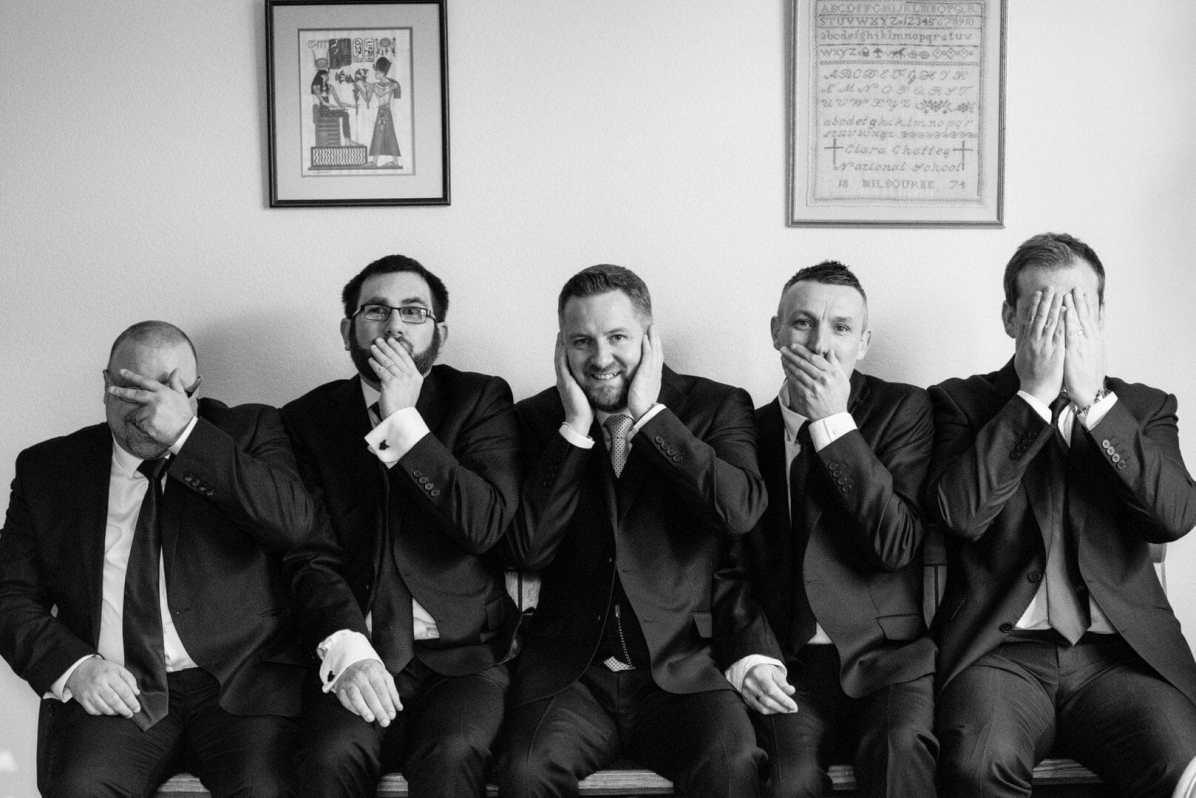 5 wise monkeys- fun wedding photography - Larmer Tree Wedding