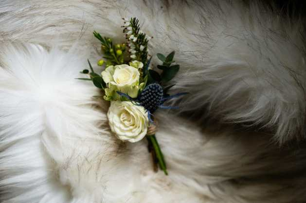Rose and Thistles for a wonderful wedding buttonhole