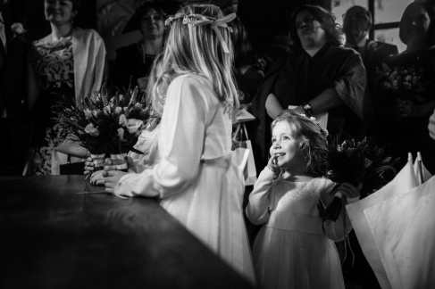 Cute Flowergirl in the Temple at Larmertree Gardens