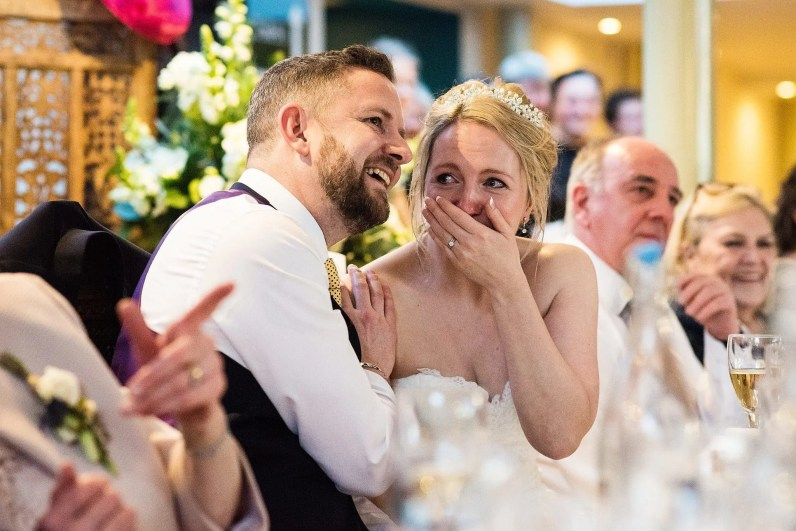 Bride Cries tears of joy at the Larmertree Gardens