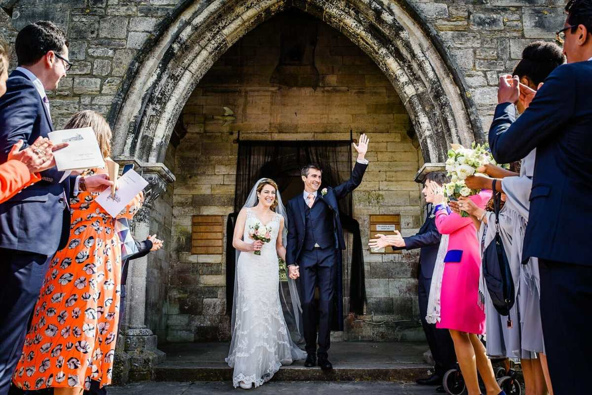 Bride and groom at St Edwards Church in Corfe