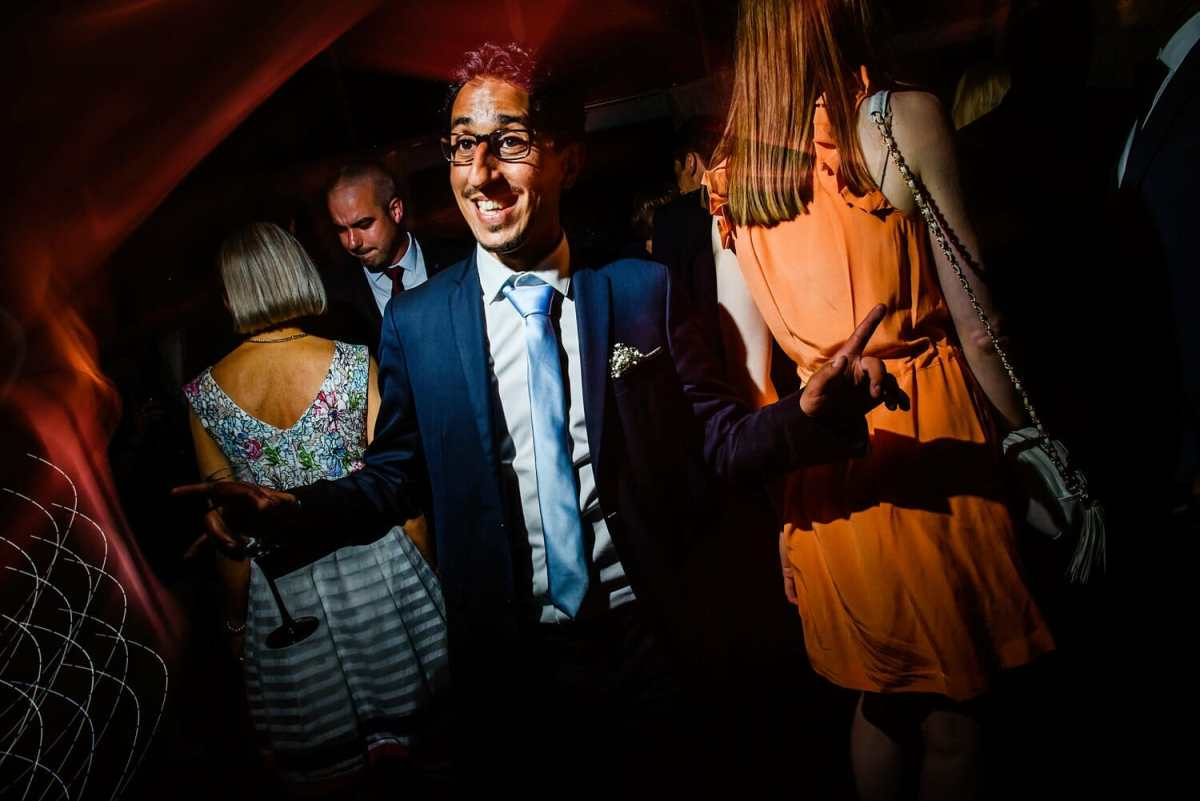 The best man showing his moves at Studland Bay House Wedding Photographer