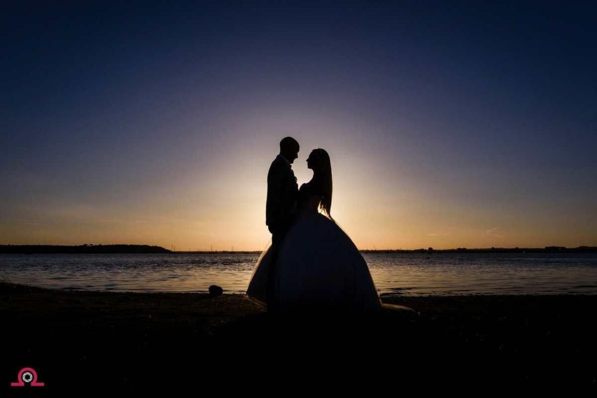 Sunset at a sandbanks wedding