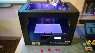 Our Maker-Bot Replicator 2 3-D printer!