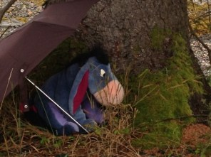 Eyore in the rain