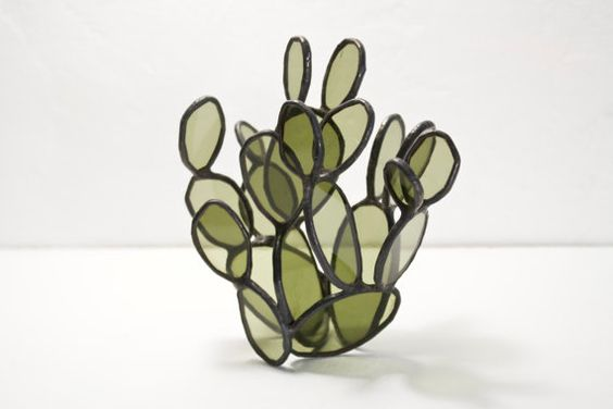 green stained glass cactus sculpture bespoke glass