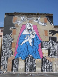 ozmo-Ancona-Holy-Mother-and-Child-with-upside-down-heads-2008-paint-on-wall-18x12