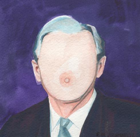 """George W. Bush  """"Általában először festem meg a festményt, csak utána a keblet. Bush kivétel volt, egyszerűen nem tudtam megállni, hogy az egész feje ne legyen egy nagy csöcs. Túl csábító volt.."""""""