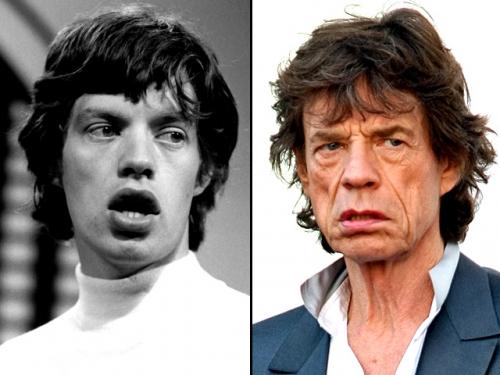 Mick Jagger akkor.. és most.