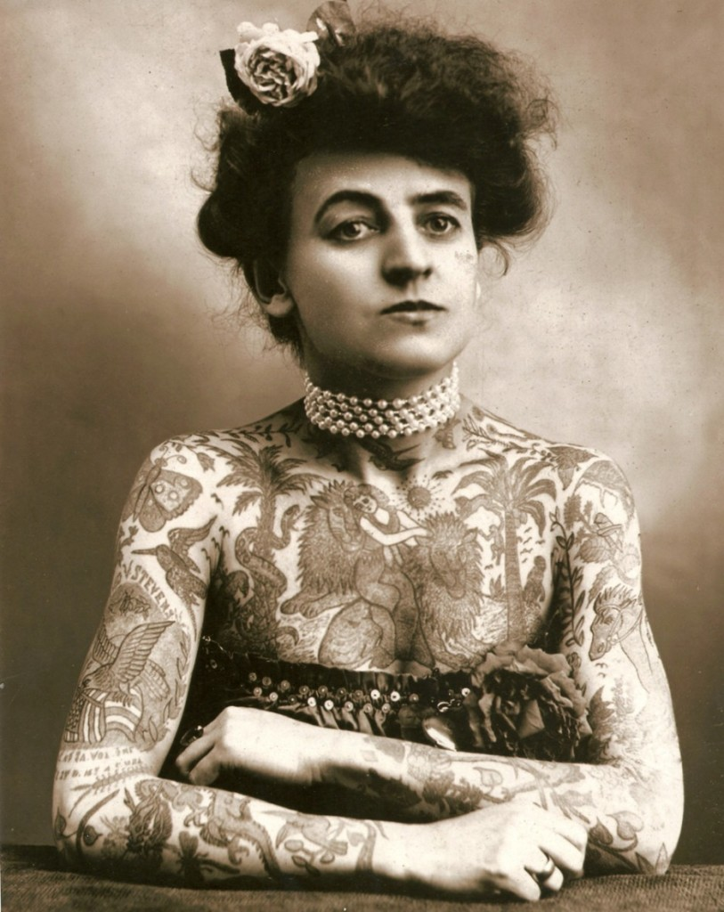 Maud Wagner, the first well know female tattooist in the United States. [1907]