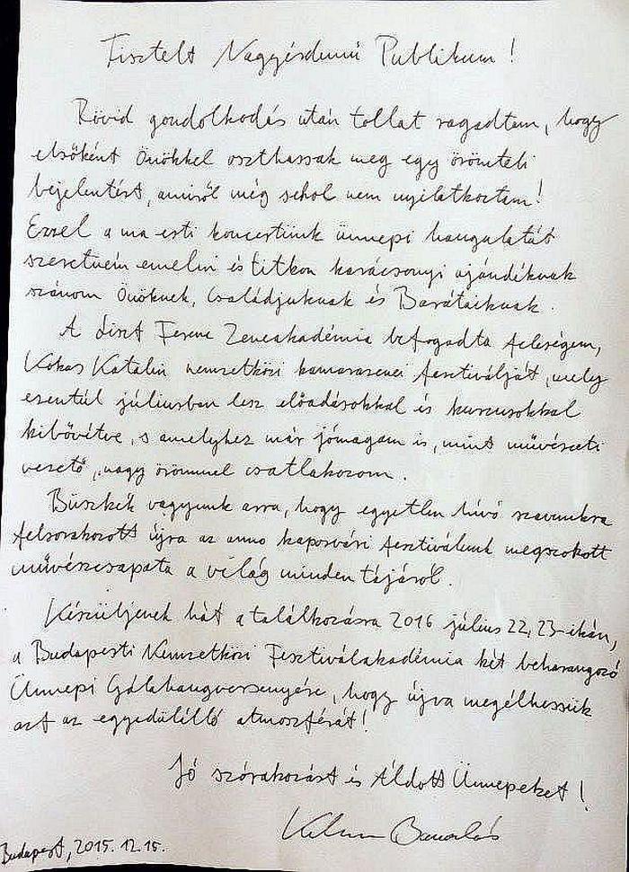 Kelemen Barnabás levele