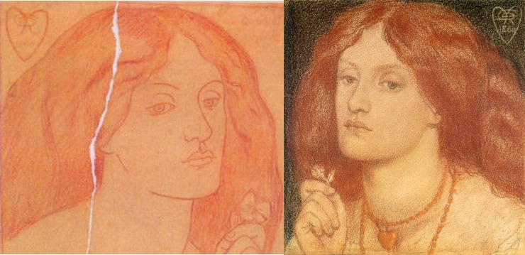 A könyv török kiadásának borítóján központi szerepet játszik, de a magyar kiadáson is feltűnik Dante Rossetti(1828-1882) többször megrajzolt és megfestett képe, a Regina Cordium. A kép modelljéül szolgáló Elizabeth Siddal és a Dante műveket is fordító festőművész szerelmének története tovább szélesítheti A piros hajú nő értelmezési horizontját…