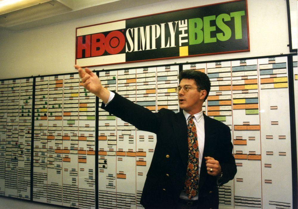 Az HBO programbeosztásának fala előtt (1992)