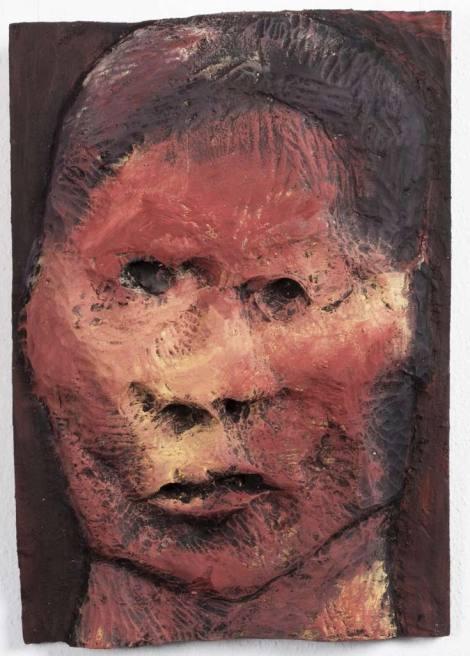 Vésett arc XIV, 2010, 68x47x5cm, festett fa