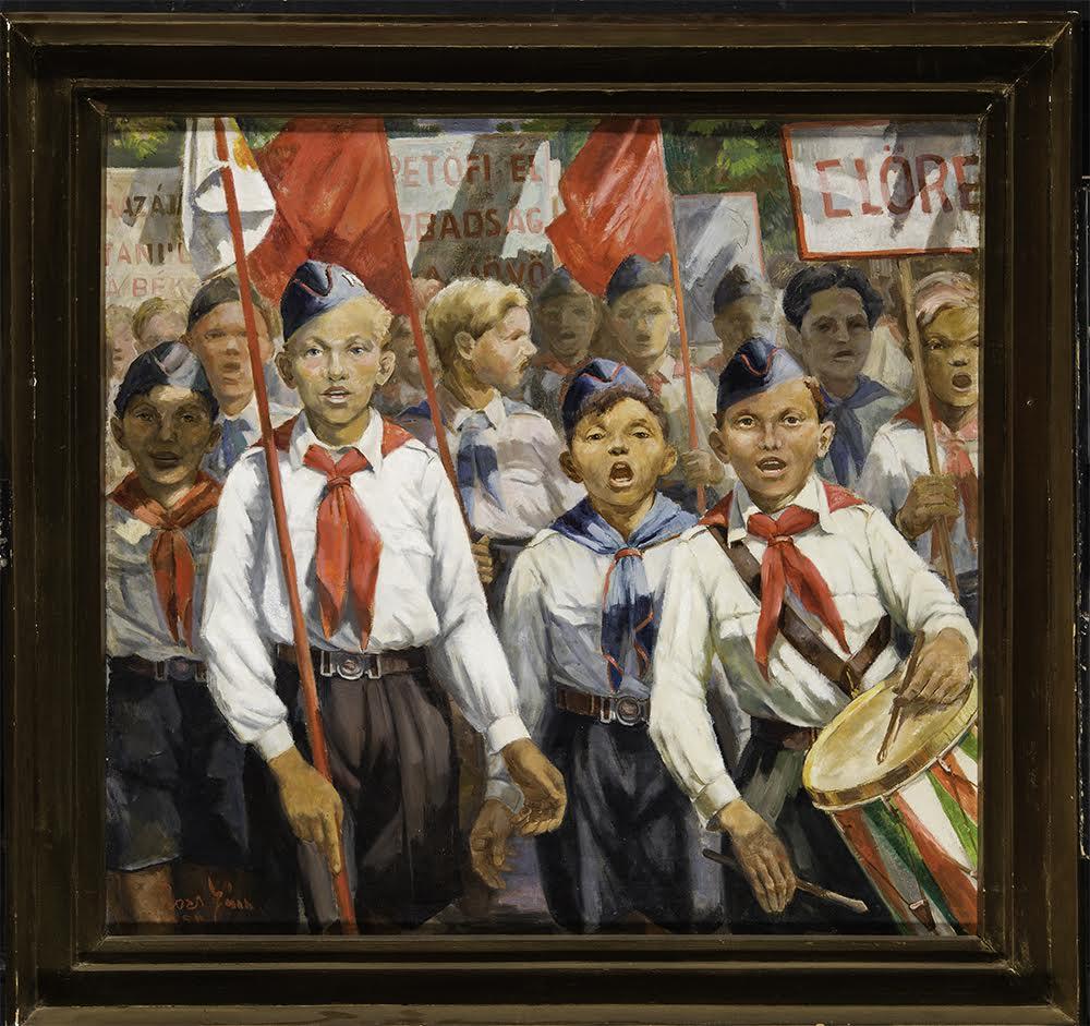 Rozs János (1901-1987): Úttörők, 1950. Olaj, vászon 92 x 97 cm