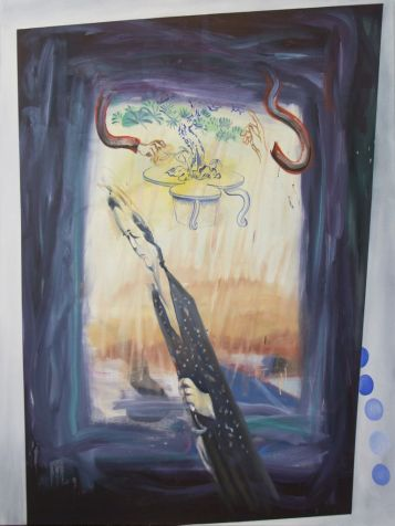 Pinter_Gabor_Kozmikus t+-relem, 2017,olaj, v+íszon,173x154 cm
