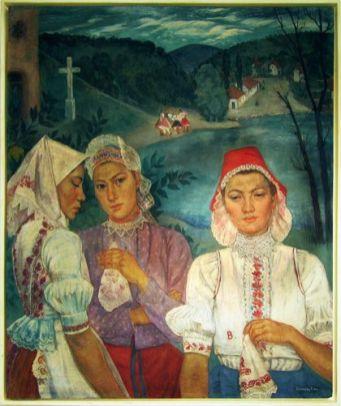 Hikády Erzsébet - Czene Béláné - Népviseletbe öltözött asszonyok, 1942